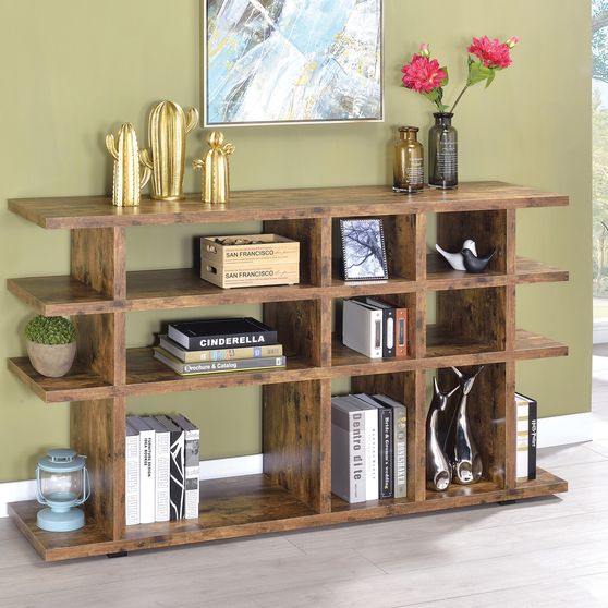 Modern rustic anitque nutmeg display / bookcase