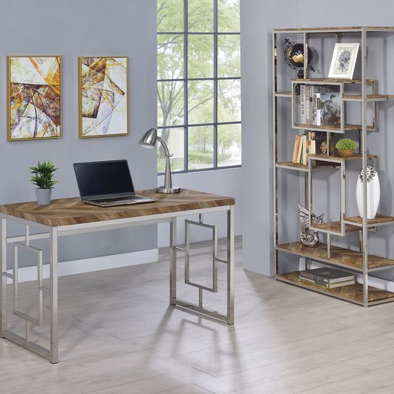 Rustic tobacco two-toned finish office desk