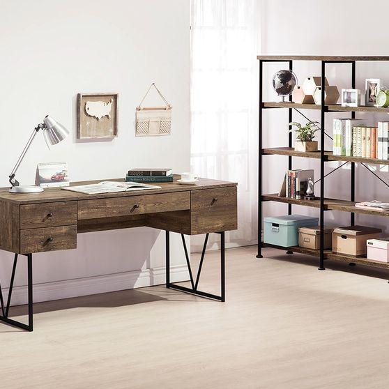 Rustic oak wood finished desk w/ 4 drawers