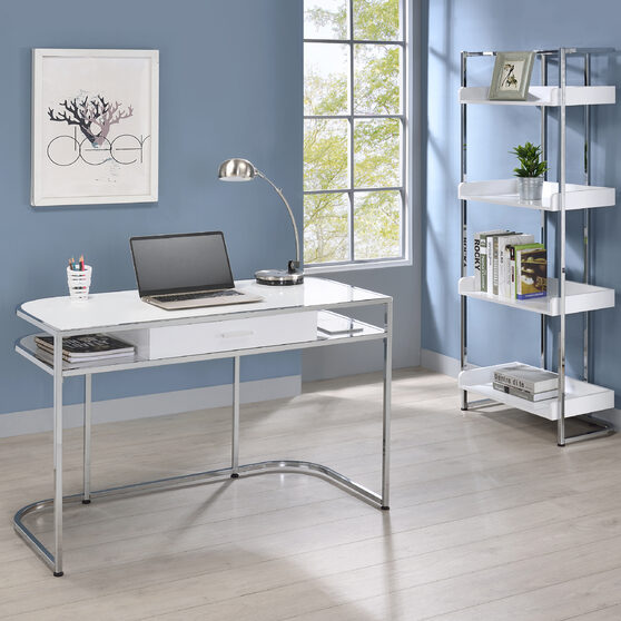 White high gloss lacquer finish writing desk