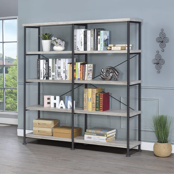 Guthrie industrial gray driftwood bookcase