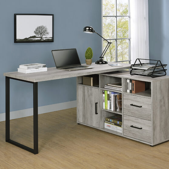 L-shape desk in gray driftwood