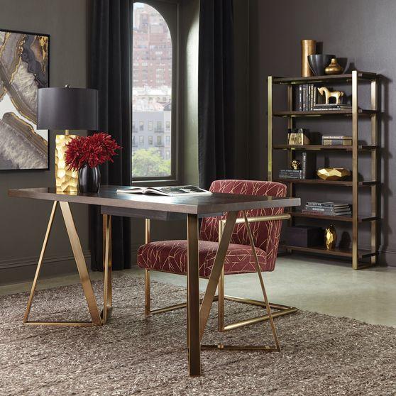 Desk in walnut / rose brass metal