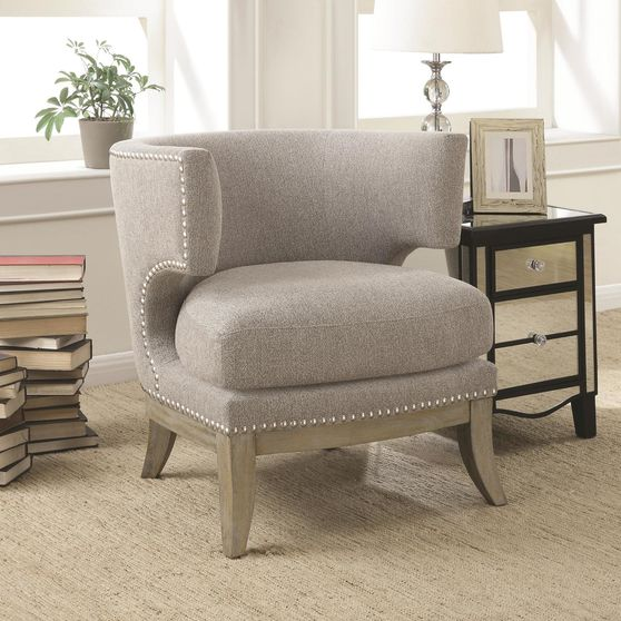 Barrel back design chair in weathered gray