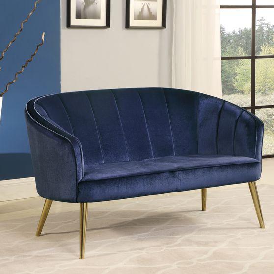 Channeled tufted blue velvet settee / loveseat