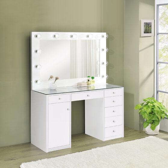 Modern white finish vanity table