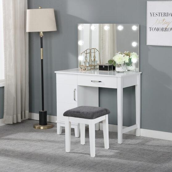 Sleek white finish matched with acrylic crystal 2 pc vanity set