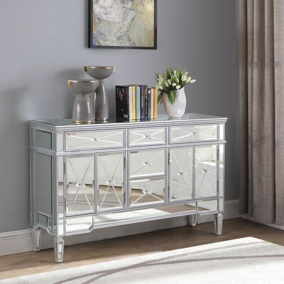 Mirrored accent cabinets with 4 doors / 5 drawers