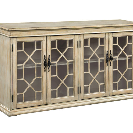 Natural light honey wood finish accent cabinet