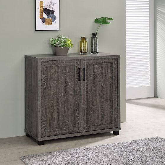 Rustic style accent cabinet finished in weathered gray