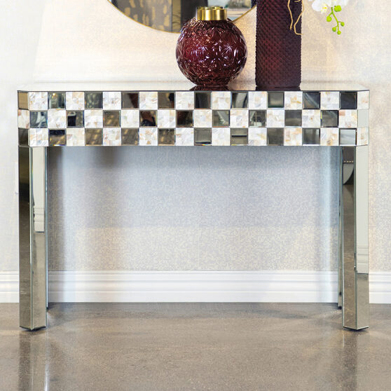 Elegantly designed in a mother of pearl console table