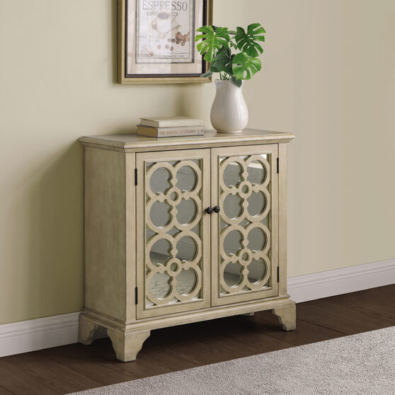 Solid hardwood with mirrored door panels accent cabinet