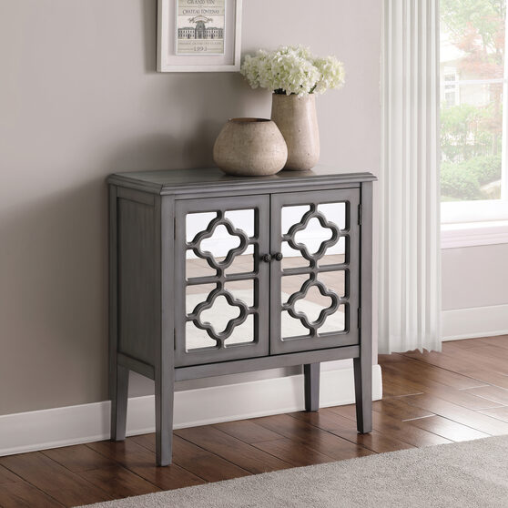 Solid hardwood frame with mirrored door panels accent cabinet