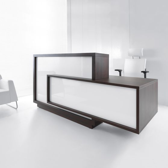 Contemporary chestnut/white custom reception desk