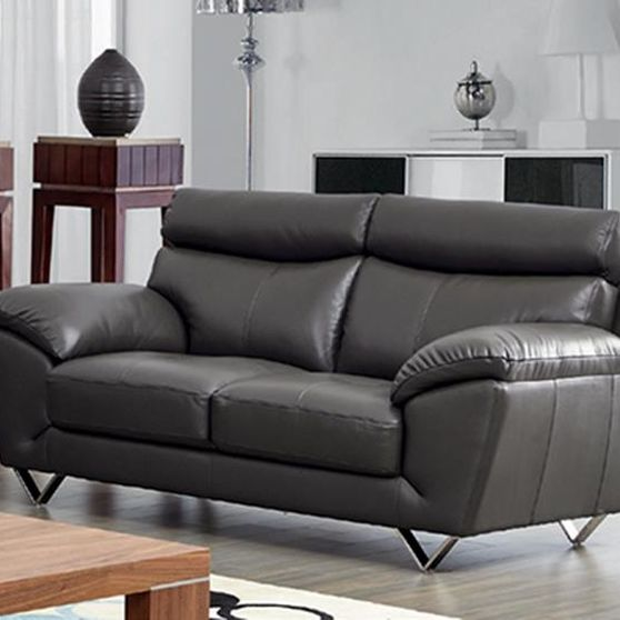 Modern appeal dark gray leather loveseat