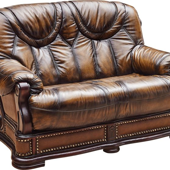 Genuine leather w/ wood trim loveset in two-toned brown
