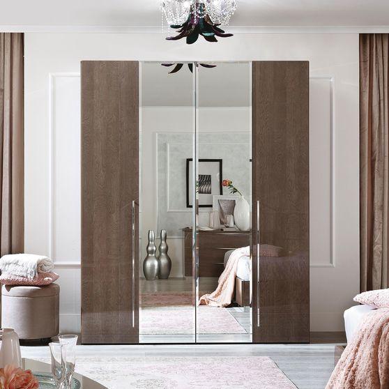 Modern birch finish 4 door contemporary wardrobe