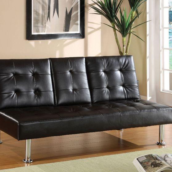 Affordable black leatherette sleeper w/ folding table