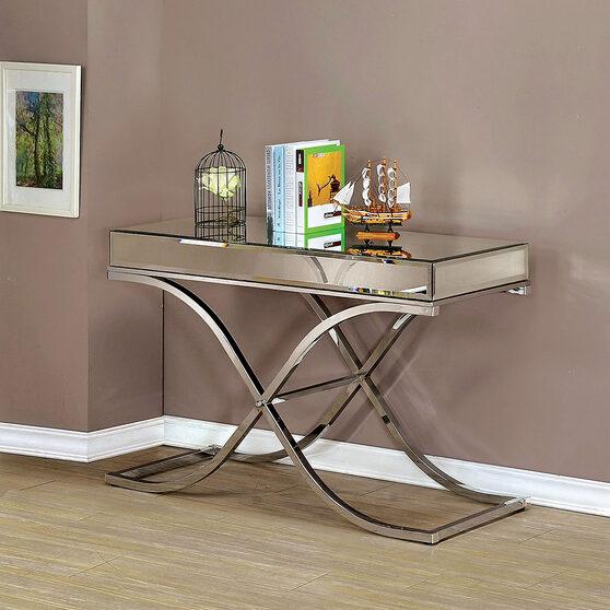 Chrome finish mirror top glam style sofa table