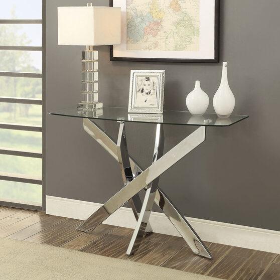 Criss cross sofa table w/ glass top