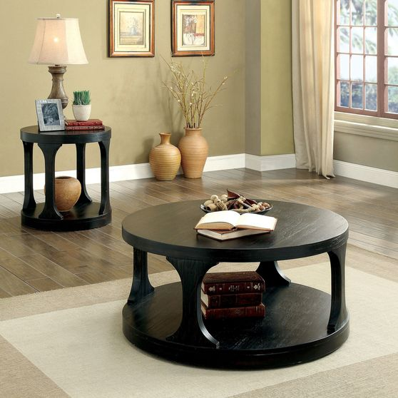 Antique black round shape coffee table