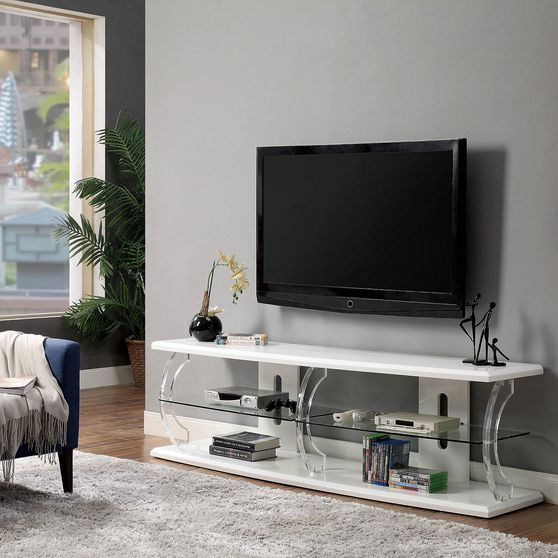 60-inch modern white TV Stand with LED