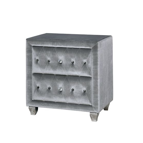 Flannelette fabric tufted modern bed in gray