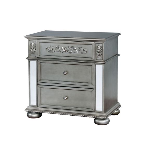 Classic night stand with mirrored accents