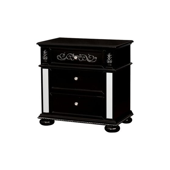 Classic black night stand with mirrored accents