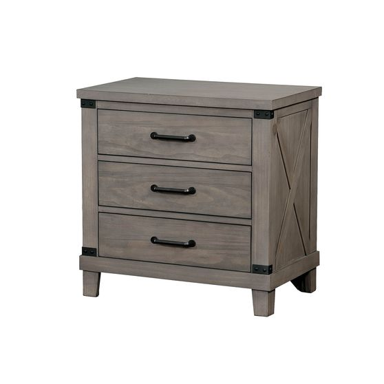 Plank style transitional gray finish night stand