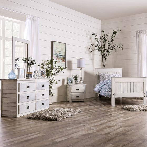 Rustic style weathered white finish youth bedroom