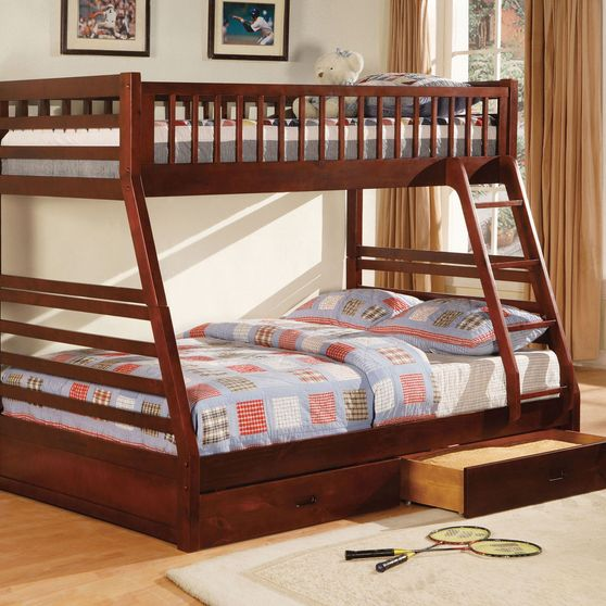 Twin over full bunk bed in cherry w/ drawers