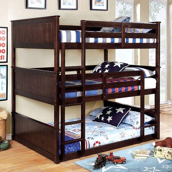 3-tiered full bunk bed in dark walnut finish