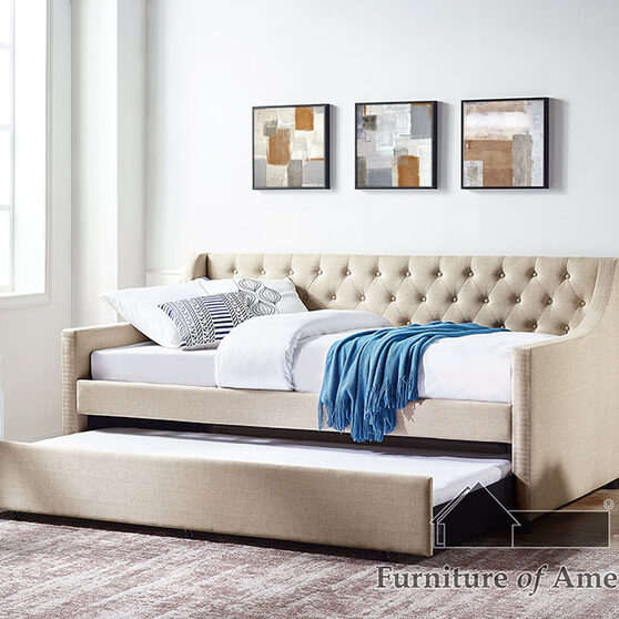 Button-tufted back twin daybed in beige finish