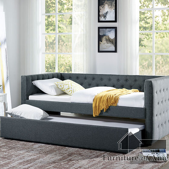 Button-tufted design twin daybed in gray finish