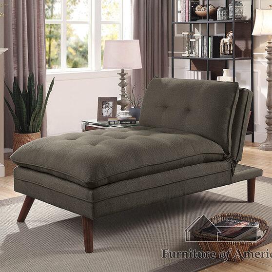 Black/light oak transitional chaise
