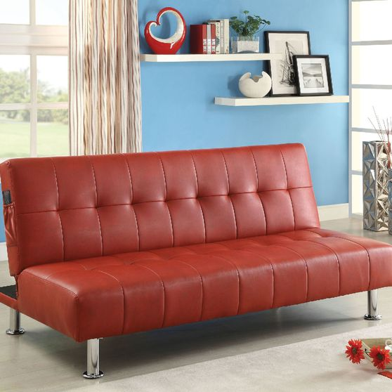 Red/Chrome Contemporary Leatherette Futon Sofa
