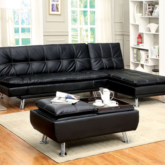 Black/chrome contemporary futon sofa, black