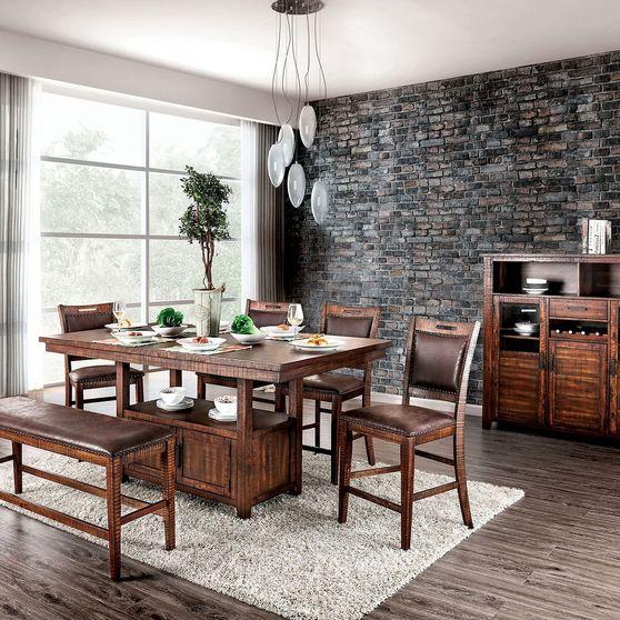 Light Walnut Rustic Counter Ht. Table