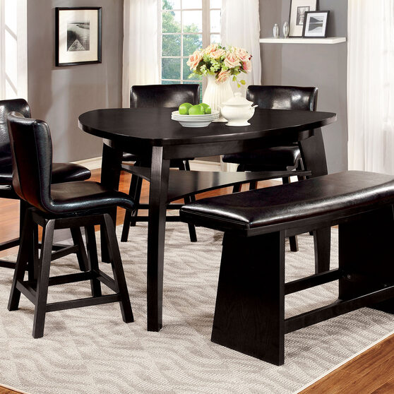 Black finish contemporary counter ht. table
