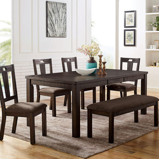 Classic walnut wood grain finish family size dining table