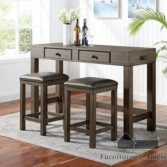 Wood grain texture 3 pc counter height table set with drawers