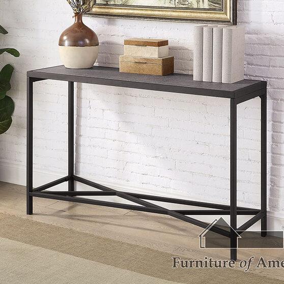 Gray/ sand black faux slate top sofa table