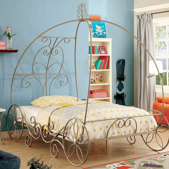 Champagne finish princess carriage design bed