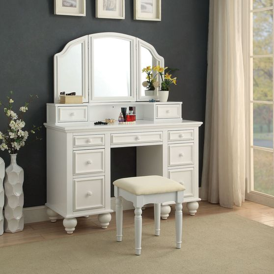 3-sided mirror white vanity + stool set