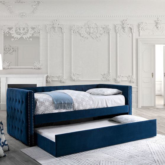 Navy tufted sides daybed w/ trundle