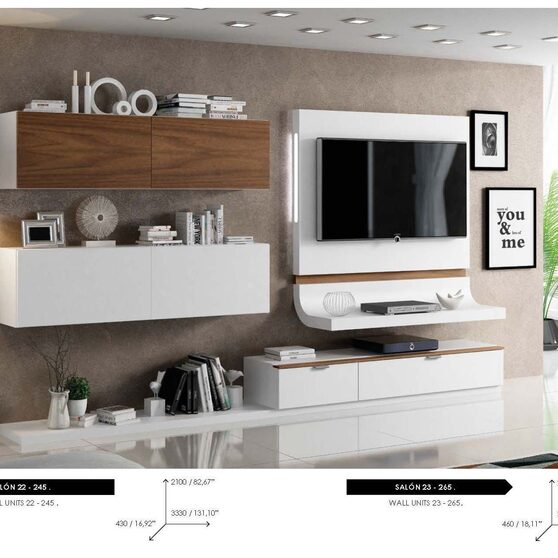 Contemporary hanging wall unit in white / brown