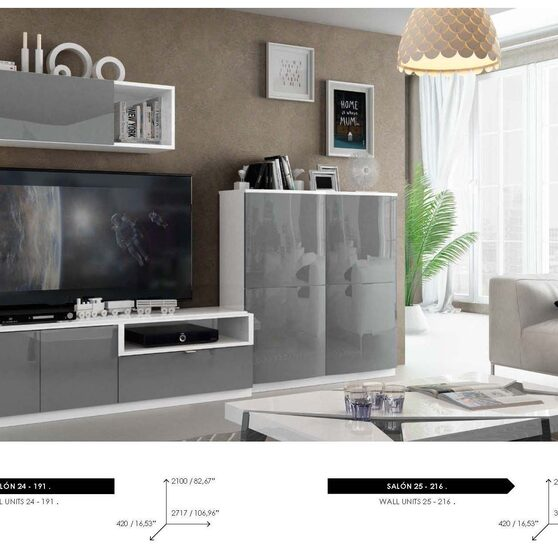 Special order contemporary wall-unit in gray / white