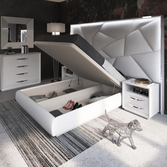 White contemporary storage platform king bed