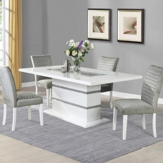 Silver glitter glam style dining table